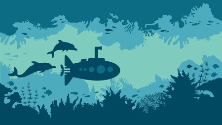 Cartoon underwater vector illustration - silhouette of blue submarine, coral reef and fish. 일러스트