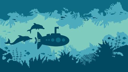 Cartoon underwater vector illustration - silhouette of blue submarine, coral reef and fish. Иллюстрация