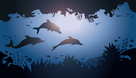 creatures: Family with three dolphins swimming in underwater cave. Sea vector wildlife illustration. Illustration