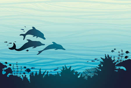 Silhouette of three dolphins and coral reef with fish on a blue sea background. Underwater vector illustration. Illustration