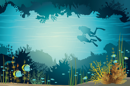 underwater light: Two scuba divers swimming near the coral reef and sea creatures in the underwater cave. Vector adventure illustration. Illustration