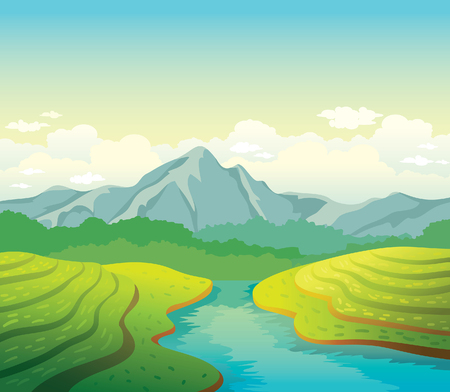 river rock: Morning summer natural landscape. illustration with green field, calm river and mountains on a cloudy sky background.