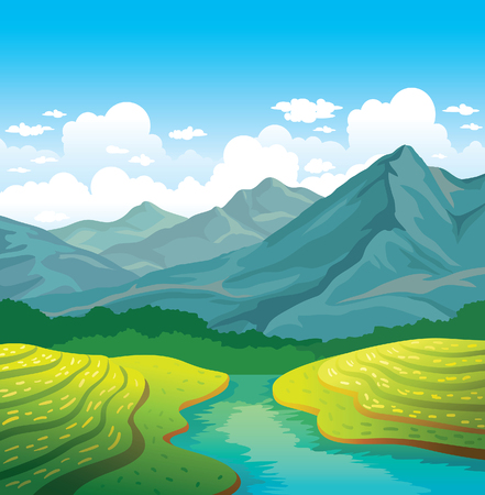 river rock: landscape - green field, river and mountains on a cloudy blue sky. Natural summer illustration.