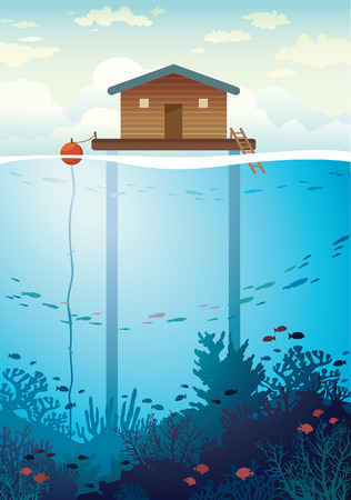 stilt: Coral farm - house on stilts and colorful coral reef with school of fish on a sea background.  environment illustration. Save the corals and underwater creatures. Illustration