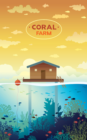 stilt: Coral farm. House on stilts and colorful coral reef with school of fish on a sea background. environment illustration. Save the corals and underwater creatures. Illustration