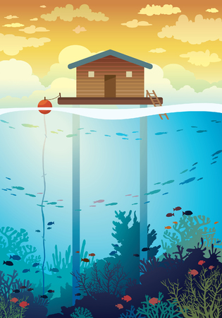 farming: Coral farm - house on stilts and colorful coral reef with school of fish on a sea background. environment illustration. Save the corals and underwater creatures. Illustration