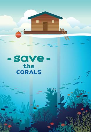 ecosistema: Guarde los corales y las criaturas submarinas. Coral granja - casa sobre pilotes y colorido arrecife de coral con banco de peces en un fondo del mar. ilustración medio ambiente.