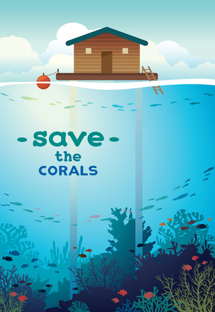 ecosystems: Save the corals and underwater creatures. Coral farm - house on stilts and colorful coral reef with school of fish on a sea background. environment illustration.