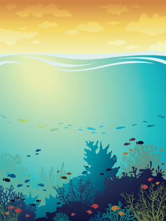underwater light: Cartoon coral reef with fish on a sea background and sunset cloudy sky. Underwater seascape. illustration. Illustration