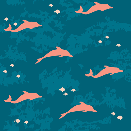 dolphin silhouette: Silhouette of pink dolphins and fish on a blue sea background. seamless underwater pattern.