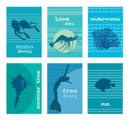 picada: Conjunto de plantillas de tarjetas bajo el agua con el fondo del mar. Ilustración con la silueta de los buzos, coral, camarón, concha, del freediver y peces. Vectores