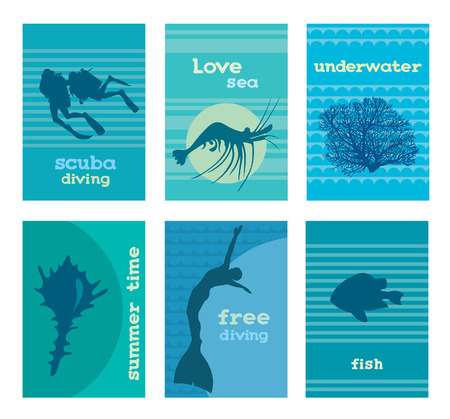 free diving: Set of underwater cards templates with sea background. illustration with silhouette of scuba divers, coral, shrimp, seashell, freediver and fish.