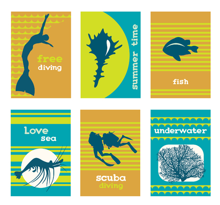 free diver: set of underwater cards with divers, coral and fish. Sea collection symbols. Illustration