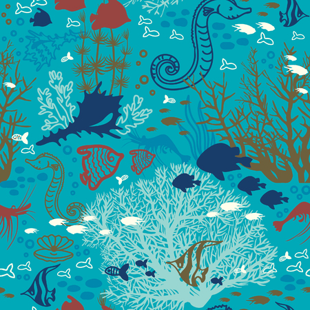 creatures: Cartoon wallpaper with coral reef, fish and underwater creatures. Seamless pattern illustration.