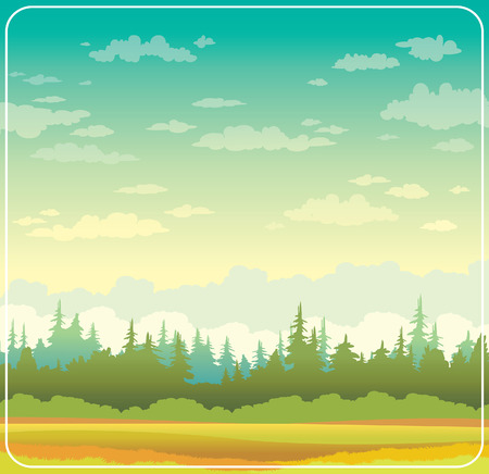 yellow landscape: Wild autumn nature landscape with yellow grass and green forest on a cloudy sky background. illustration. Illustration