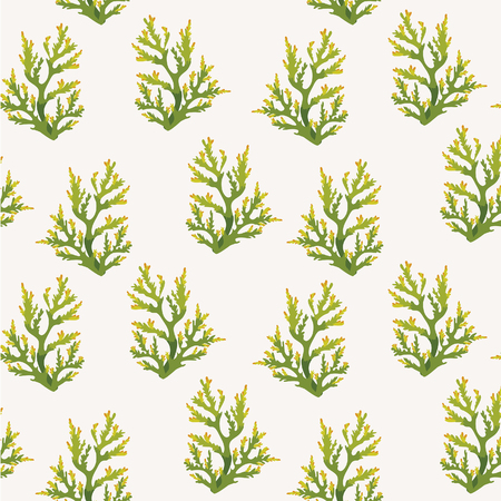 sea wallpaper - seamless pattern with green corals on a white background.