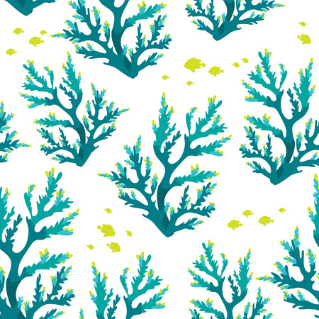 Seamless underwater pattern with blue corals and fish. sea life wallpaper.