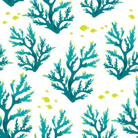 algas marinas: Patrón submarino inconsútil con los corales y los pescados azules. Fondo de pantalla de la vida marina. Vectores