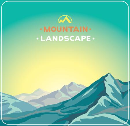 sunset sky: Cartoon summer landscape with blue mountains on a sunset sky background. Illustration