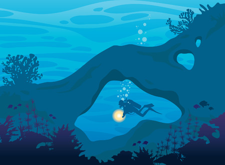 school of fish: Tropical sea wildlife. Silhouette of coral reef, school of fish, cave and scuba diver on a blue ocean background. Underwater nature. Vector illustration. Illustration