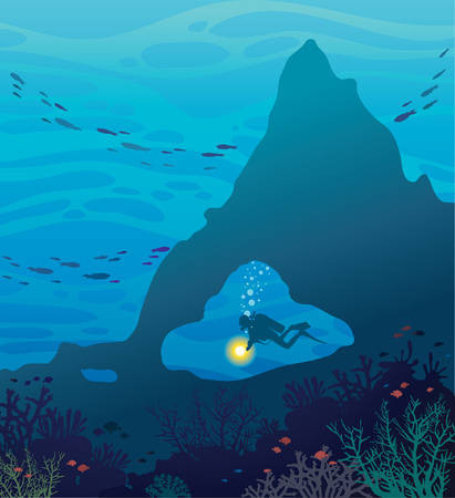school of fish: Silhouette of scuba diver in underwater cave and coral reef with school of fish in the blue sea background. Vector marine wildlife illustration. Illustration