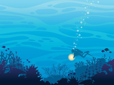 reef: Silhouette of coral reef with fish and scuba diver on a blue sea background. Underwater marine wildlife. Nature vector illustration. Illustration