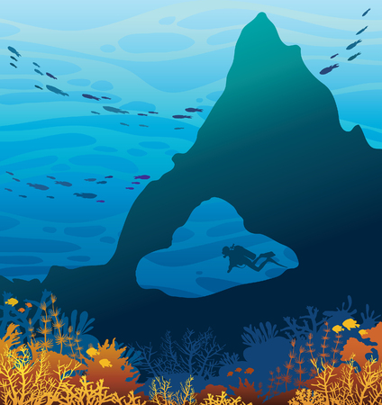 school of fish: Silhouette of scuba diver in underwater cave and beautiful coral reef with school of fish on a blue sea background. Wild marine life. Tropical summer vacation.