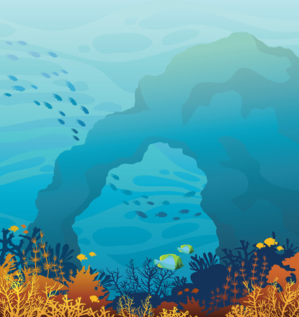 school of fish: Wild marine life - beautiful coral reef with school of fish and underwater stone cave on a blue sea background. Ocean vector illustration. Illustration