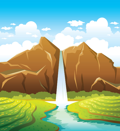 waterfall in forest: Cartoon waterfall with forest and calm river on a blue cloudy sky background. Summer landscape. Nature vector illustration.