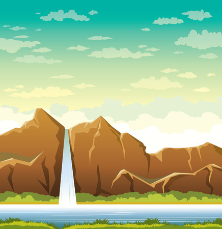 calmness: Cartoon waterfall with forest and calm lake on a cloudy sky background. Summer landscape. Nature vector illustration.