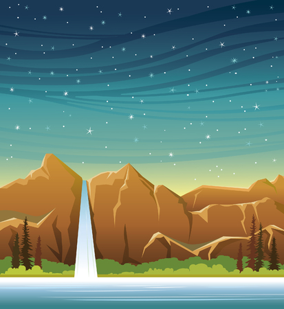 waterfall in forest: Cartoon waterfall with forest and calm lake at the night starry sky. Wild nature vector landscape. Summer illustration.