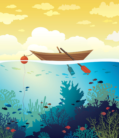 school of fish: Vector seascape - wooden boat on a sunset sky and underwater marine life with school of fish and coral reef. Summer tropical illustration.