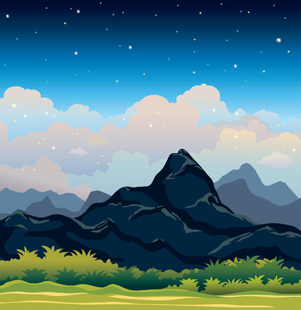 Summer landscape with blue mountains and green tropical forest on a night starry sky. Vector natural illustration.
