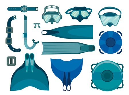 underwater sport: Set of freediving equipment on a white background. Vector illustration of underwater sport. Mask and snorkel, fin and monofin, buoy and weight.