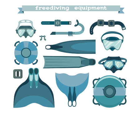 underwater sport: Freediving equipment collection on a white background. Mask and snorkel, fin and monofin, buoy and weight. Vector illustration of underwater sport.