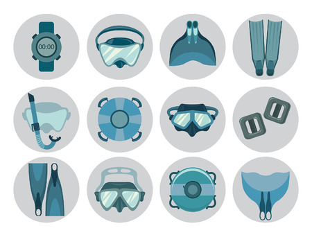 freediving: Set of freediving equipment icons on a white background. Vector illustration of underwater sport. Mask and snorkel, fin and monofin, buoy and weight.