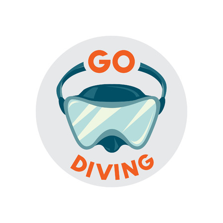 free diver: Diving mask icon with slogan: Go diving on a white background. Vector illustration - Scuba diving equipment.