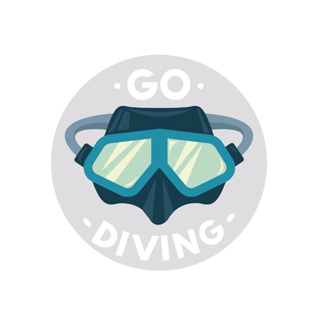 Vector illustration - icon of scuba diving equipment on a white background. Diving blue mask with slogan: Go Diving.