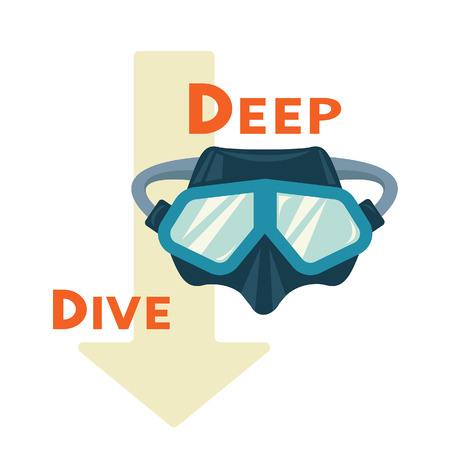 Vector illustration - icon of scuba diving equipment on a white background. Diving blue mask with slogan: Deep Dive.
