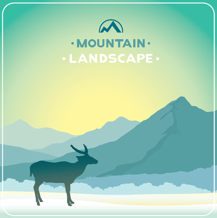 sunrise sky: Winter landscape with blue mountains and silhouette of reindeer on a sunrise sky. Vector wildlife illustration.