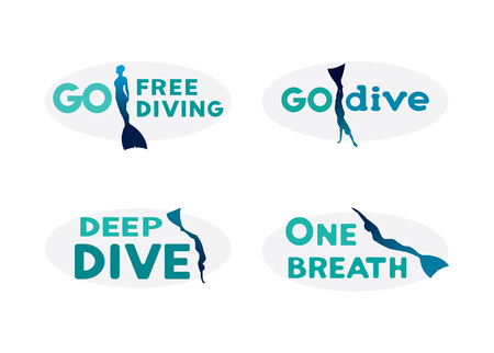 underwater sport: Icons set with silhouette of freedivers in monofins. Vector illustration with underwater sport logo. Go freediving, deep dive, one breath. Illustration