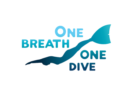 freediver: Silhouette of freediver underwater with monofin. One breath - one dive. Vector illustration with sport logo.