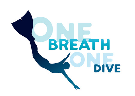 underwater sport: One breath, one dive. Silhouette of freediver in monofin on a white background. Vector illustration with underwater sport logo.