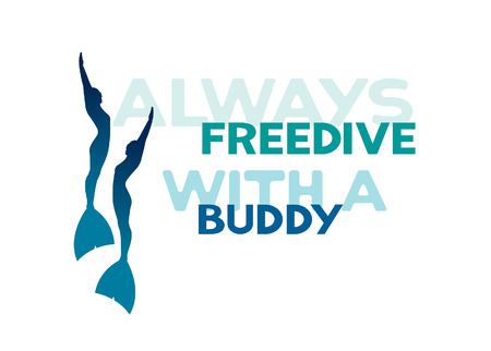 deep sea diver: Silhouette of two freedivers in monofins. Always freedive with a buddy. Vector underwater sport logo.