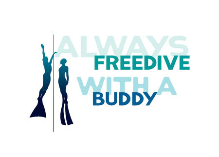 Silhouette of two freedivers swimming up on the rope. Vector underwater sport illustration with text - always freedive with a buddy.