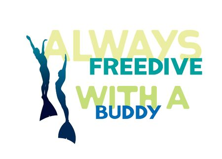 underwater sport: Always freedive with a buddy. Silhouette of two freedivers in monofins on a white background. Vector underwater sport illustration.
