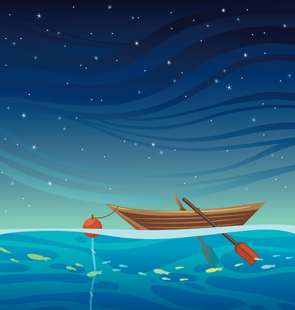 Cartoon wooden boat with bouy and rope at the blue sea on a night starry sky. Seascape vector illustration.