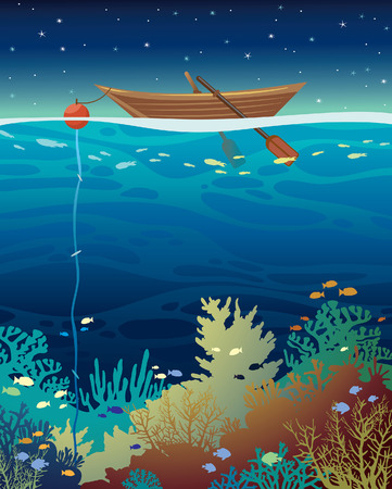 Underwater coral reef with school of fish  and wooden boat on a night starry sky. Vector seascape illustration.