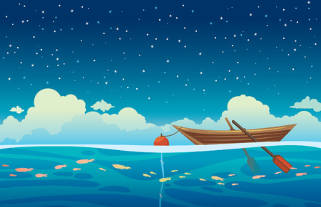 rowboat: Seascape vector illustration - wooden boat with buoy at the blue sea on a night starry sky with clouds.