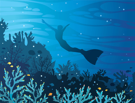 Blue coral reef with fishes and silhouette of freediver in monofin on a sea background. Underwater vector illustration. Water sport. Illustration